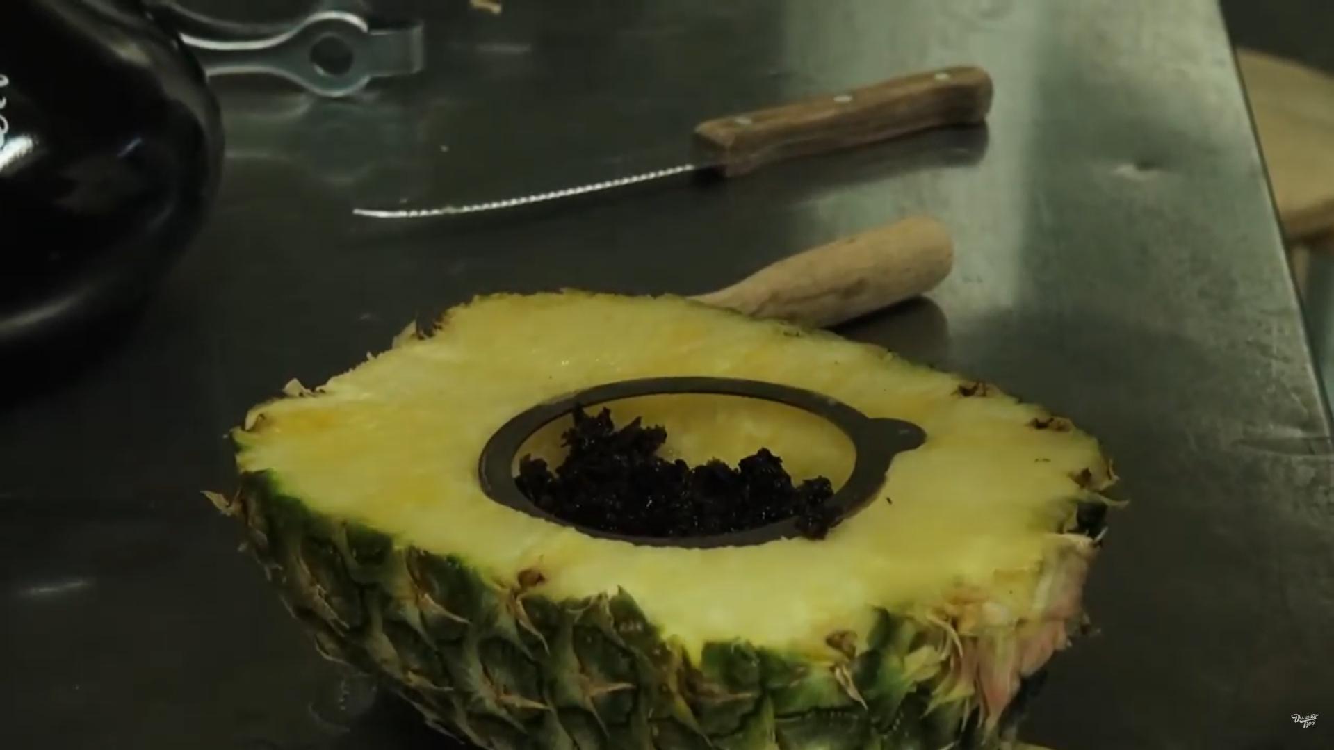 забивка чаши из ананаса